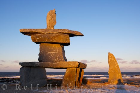 photo of Inukshuk Sunset Hudson Bay Churchill