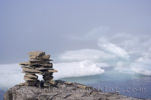 photo of Inukshuk And Pack Ice On The Northern Peninsula